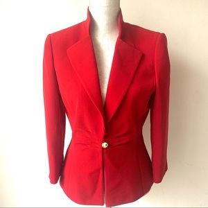 Tahari ASL Fitted Red Holiday Suit Career Jacket